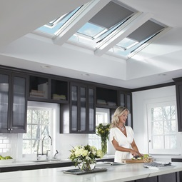 3 electric skylights in kitchen